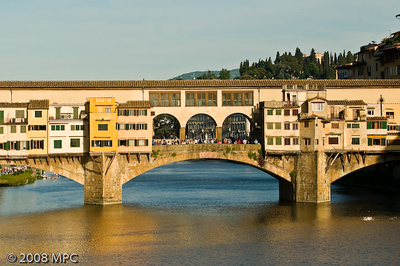 The Ponte Vecchio (or Old Bridge).  This was the only bridge left standing when the Nazi's retreated from Florence in 1944.