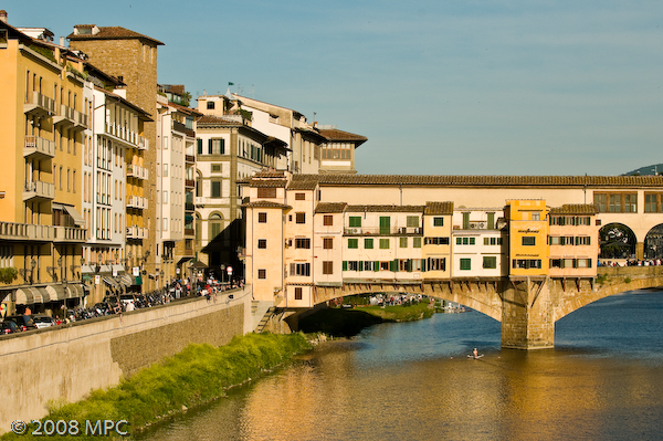 The Ponte Vecchio and the banks of the Arno River