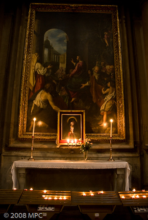 an alter and offering table in Santa Croce