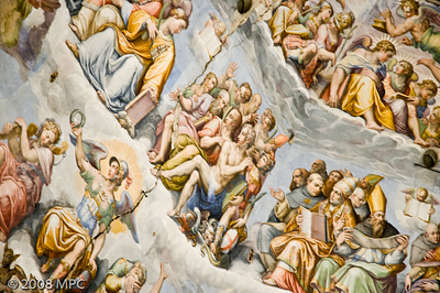 A closeup of the frescos on the dome of the Duomo