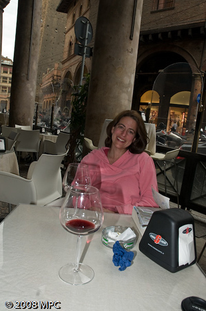 Our first afternoon in Bologna.  Enjoying some wine and ordering panini.