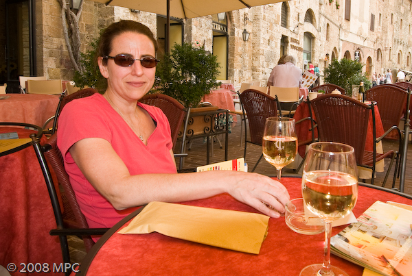 Trying the local white wine, Vernaccia in San Gimignano