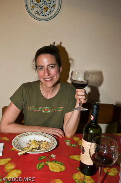 Enjoying dinner with a glass (OK a bottle) of Clemente VII - the wine produced by the agriturismo.
