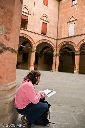 Outside the Museo Civico Archeologico, planning our next move