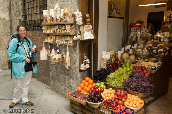 Fruit stand in Siena.  They also had pastas, olive oils and cheese.
