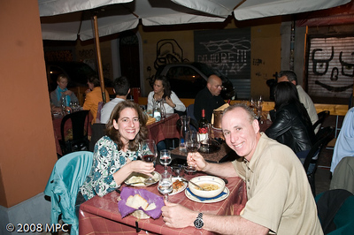 Enjoying dinner at an outdoor cafe - Bologna