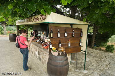 Buying a bottle of wine outside of San Gimignano