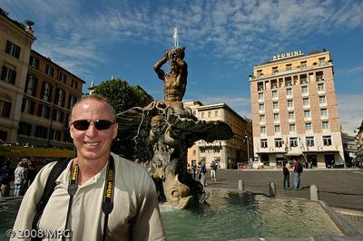 Bernini's Fountain of the Triton (Fontana del Tritone) in the Piazza Barberini in Rome