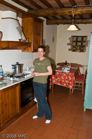 Cooking dinner in the kitchen of our apartment in the agriturismo