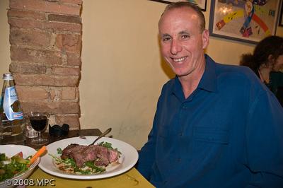 The happy birthday boy and his steak!