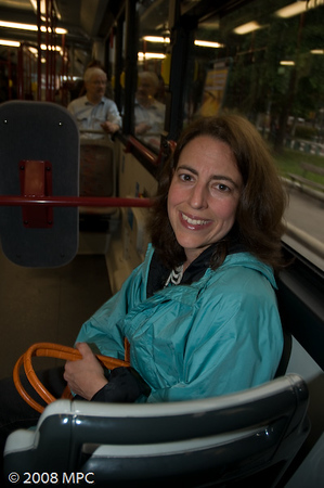 Riding the bus to centro storico from the hotel.  Love that public transportation!