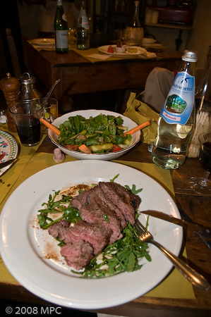 The meal Michael was talking about getting for months before the trip - an authentic tuscan steak served over rocket (arugula)