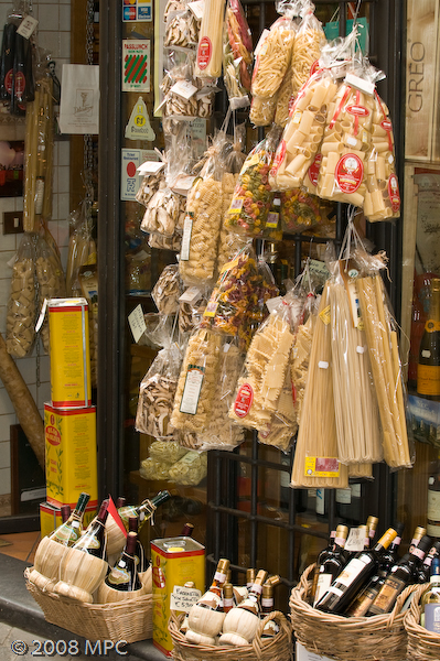 Shop selling pasta, olive oil and wine
