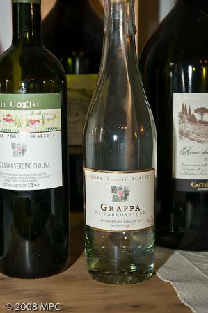 Podere Poggio Scalette also produces olive oil and of course, Grappa