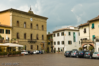 the Piazza Matteotti in Greve in Chianti.  Its actually triangular in shape.