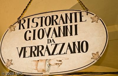 Ristorante named for Giovanni Verrazzano - yes, the same Verrazzano the bridge is named for.