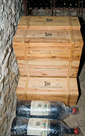 Wine ready to be shipped.  About 95% of the Il Carbonaione is shipped out of the country.