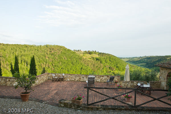 The terrace and another apartment at the agriturismo.  This view offered fabulous sunsets.