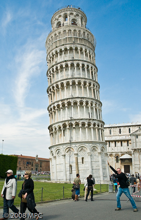 Michael pushing over the Tower - it doesnt stand much of a chance!