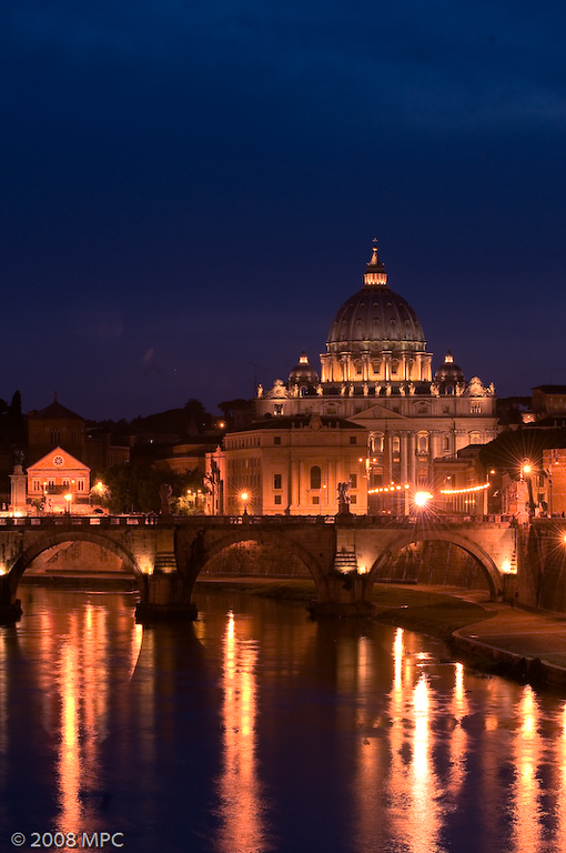 View of St Peters Basilica from across the Tiber.