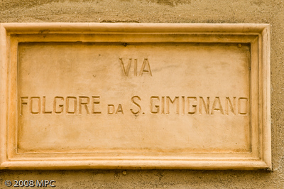 Street sign in San Gimignano