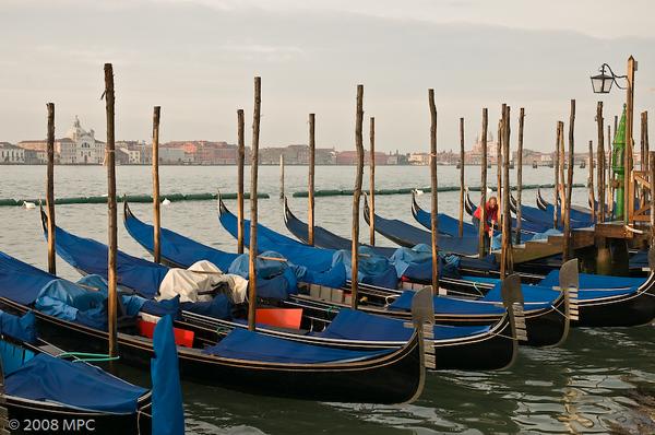 Gondolas early in the morning in Venice