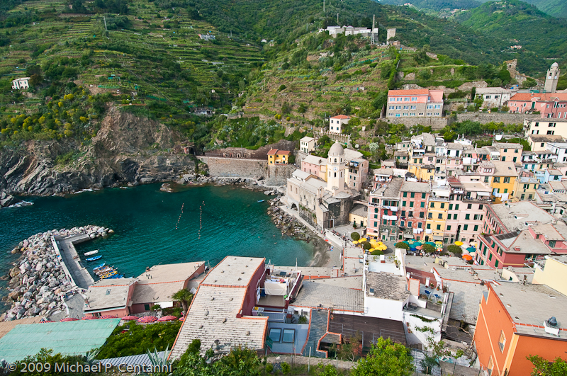 Vernazza's Harbor as seen from Doria Castle