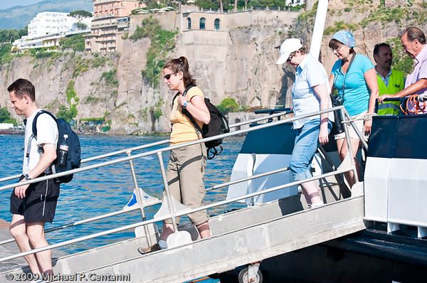 Getting off the ferry in Positano