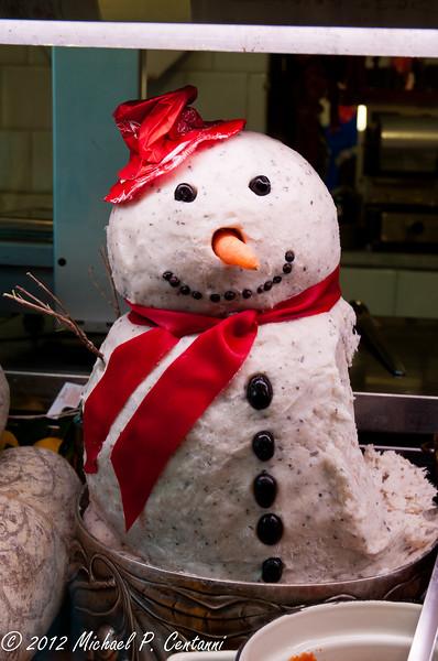 A snowman made from Lardo