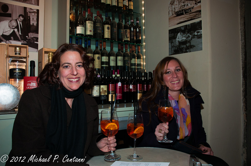 New Years Eve!  Enjoying an Aperol Spritz at a bar on the Piazza della Reppublica in Cortona