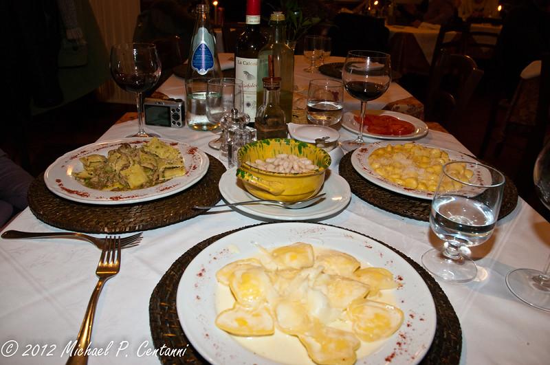 our last meal!  Pecorino ravioli...  yum, yum!