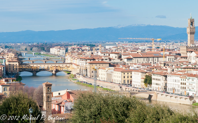 Florence, the Arno and the Ponte Vecchio from Piazza Michelangelo