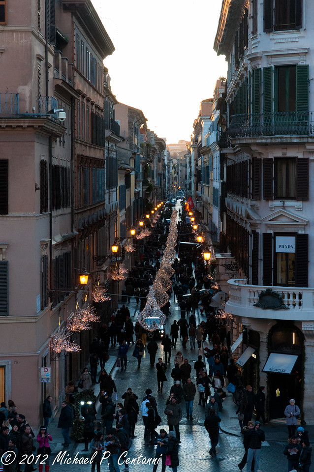 Looking down Via dei Condotti from the Spanish Steps