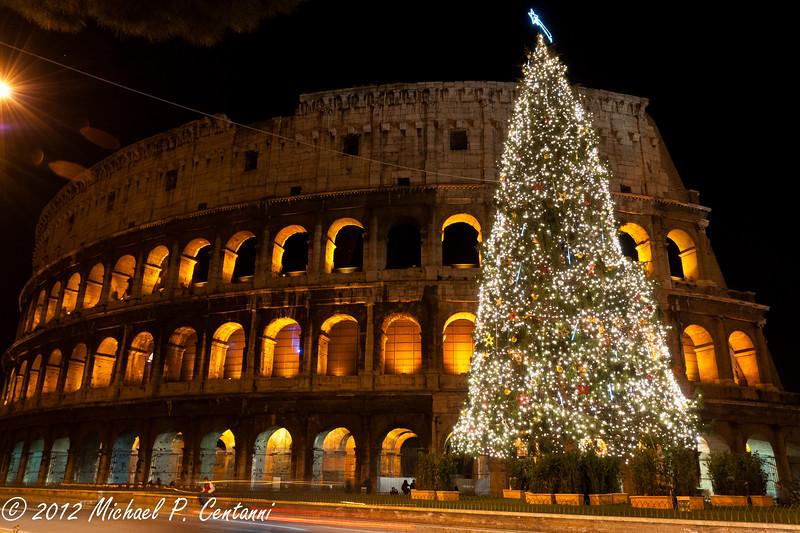 Christmas tree outside the Coliseum