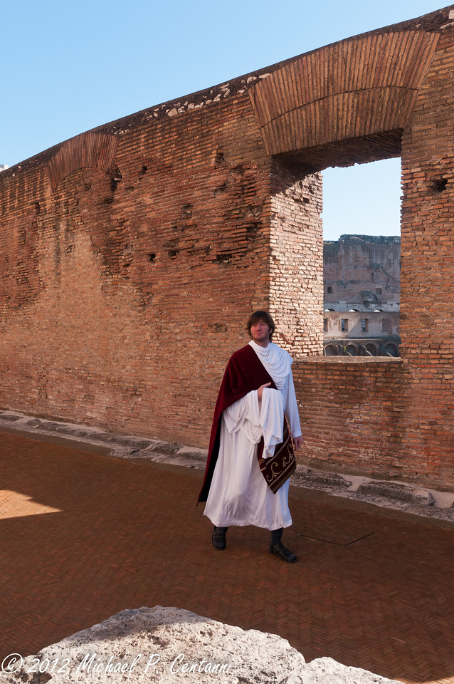 Roman orator greeting guests inside the Coliseum