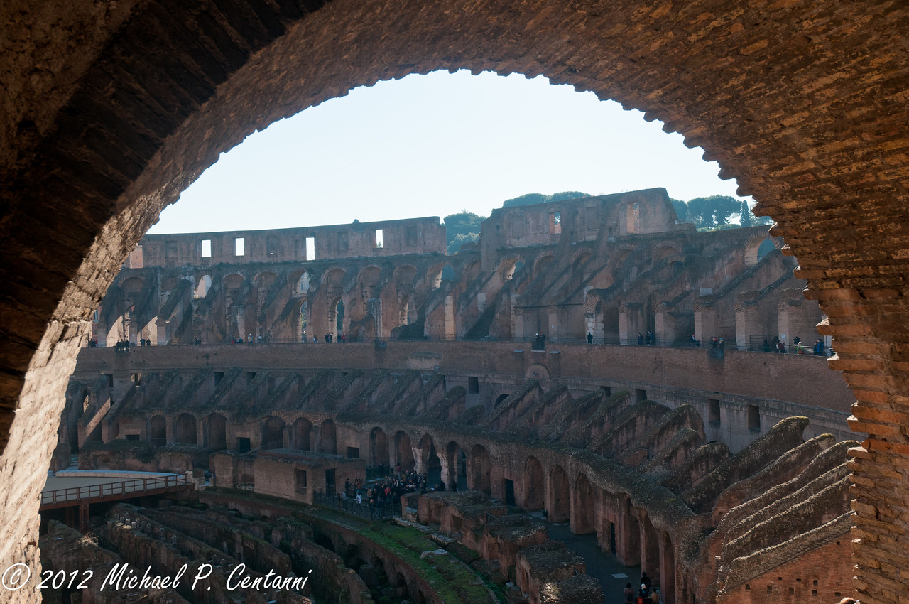 Looking out from the upper level inside the Coliseum