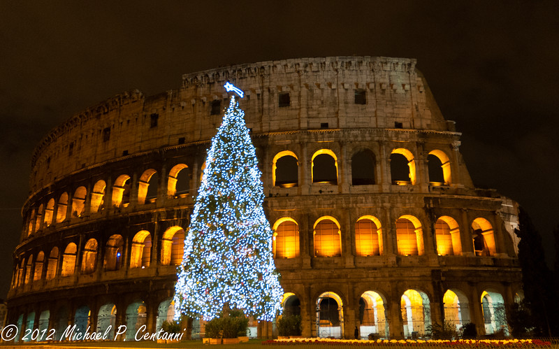 Christmas tree at Colosseo, Rome