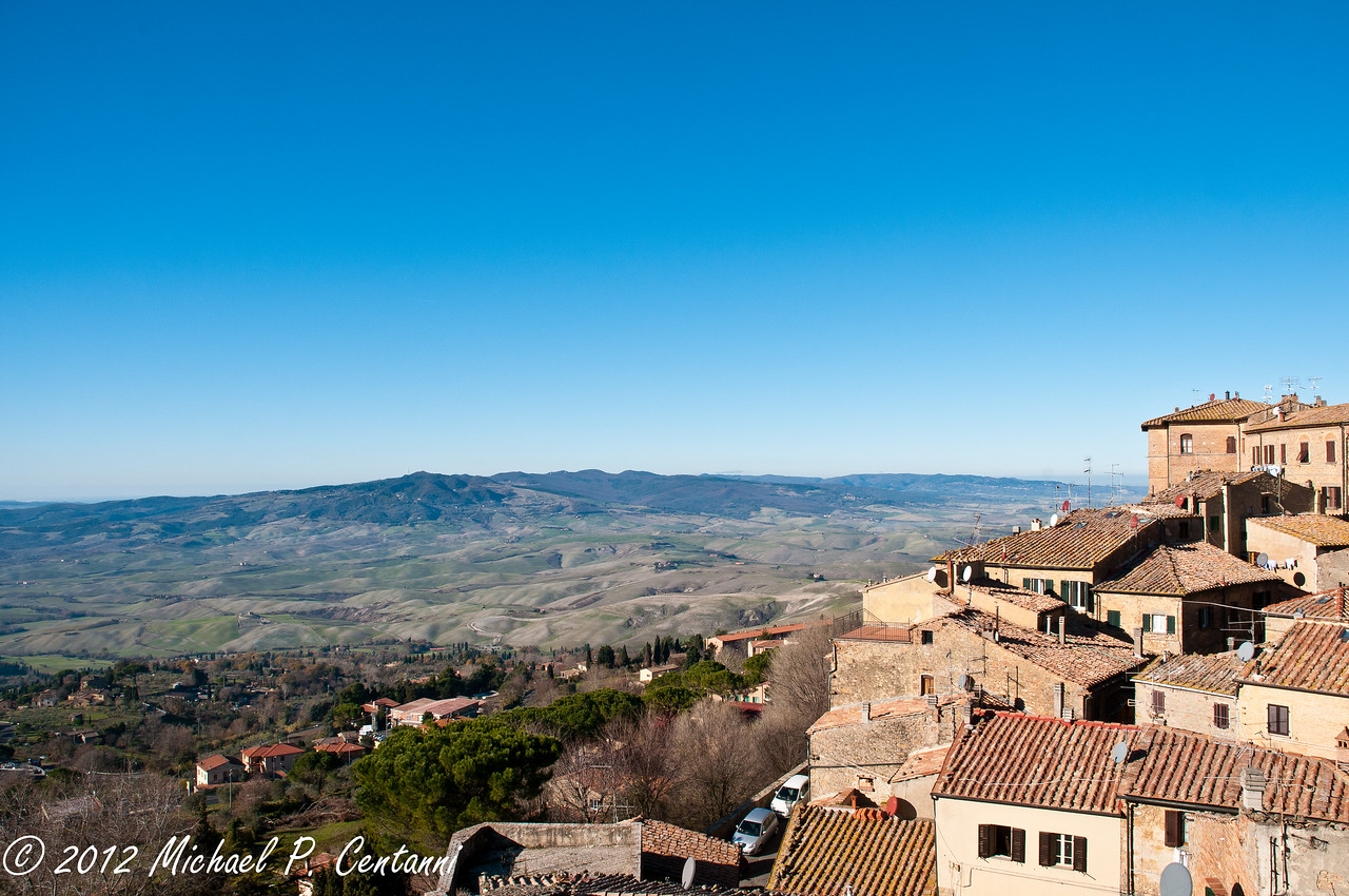 Looking out over the countryside from Volterra