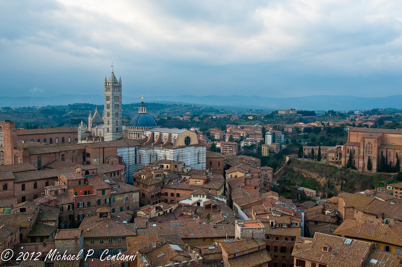 The back of the Duomo from the Torre del Mangia in Siena