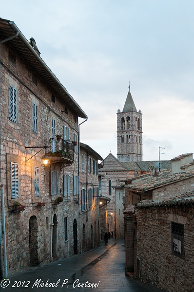 Looking down the street to the Basilica of St Clare, Assisi