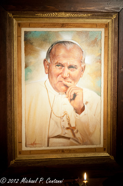 Pope John Paul II portrait inside San Rufino, Assisi