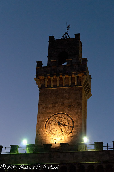 the clock tower at the Palazzo Comunale