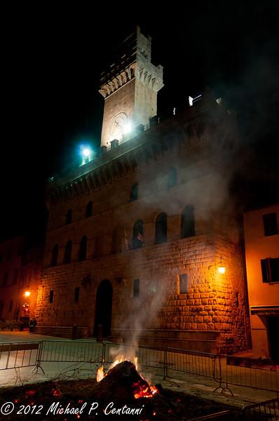 bonfire in Piazza Grande, Montepulciano
