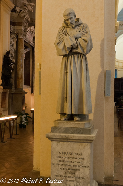 Inside San Rufino - a statue of San Francesco