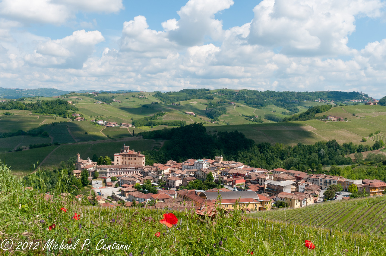Looking down at the town of Barolo