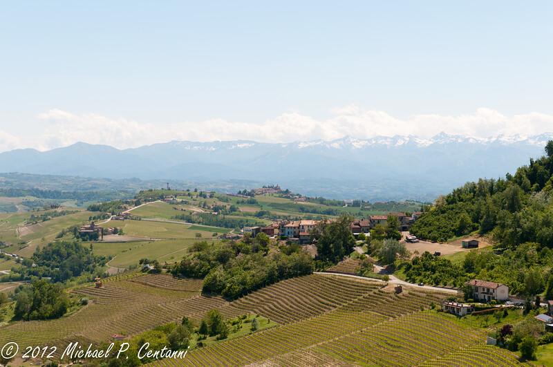 the surrounding area around La Morra - the Italian Alps in the background
