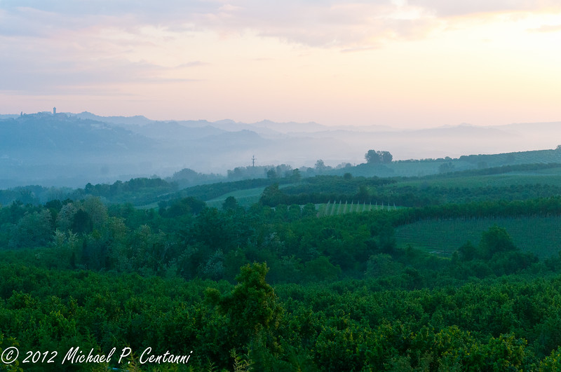 The surrounding countryside from Bricco dei Cogni at sunrise