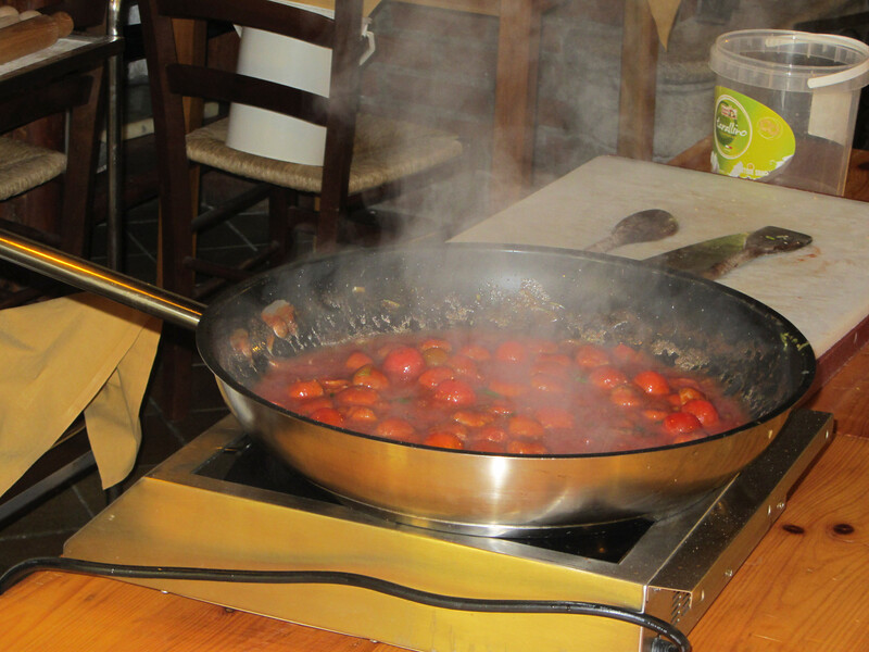 cooking the sauce for the tagliatelle