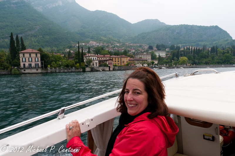 Taking a tour of the lake on our private taxi boat