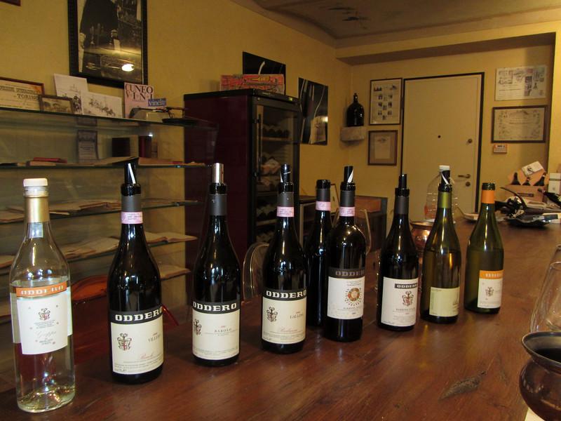 the tasting selection at Oddero